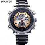 Мужчины военные спортивные часы Dual Time Кварцевые Цифровые Часы красочный светодиодные полный стали наручные часы relogio masculino