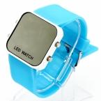 Новая Площадь Зеркало Лицо Силиконовой Лентой Цифровые Часы Красный СВЕТОДИОД Часы Электроника Наручные Часы Спортивные Часы Часы 12 цвет