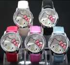 HelloKitty Часы Женщины Платье Часы Hello Kitty Мультфильм Часы Кварцевые Искусственная Кожа Часы Женщины Горный Хрусталь Часы дети reloj mujer