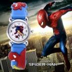 Горячие продажи мода человек-паук мультфильм смотреть детям смотреть дети мальчик прохладно 3d каучуковый ремешок часы кварцевые часы часы час подарок