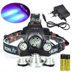 Супер яркий анти-ультрафиолетового 6000 люмен T6   2R5 анти-уф из светодиодов фар фары фонарик 3   Ac зарядное устройство   2 * 18650