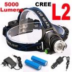 Супер яркий 5000LM 12 Вт CREE XML-L2 СВЕТОДИОДНЫЕ Фары LED Фары 18650 фонарик головного света светодиодные лампы   2 х 18650 Аккумулятор   зарядное устройство