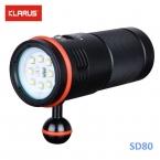 Кларус SD80 Фотографии CREE XM-L2   XPE красный   UV LED 5000 ЛМ Дайвинг Фонарик на 4*18650 батареи