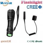 Zk50 из светодиодов факел нью-cree XM-L T6 4000 Lumens факел регулируемый из светодиодов тактический фонарь для охоты с дистанционное датчик давления