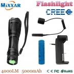 Zk50 нью-cree XM-L T6 из светодиодов тактический фонарь 4000Lm факел регулируемый lanterna для охоты   18650   дистанционный переключатель   зарядное устройство