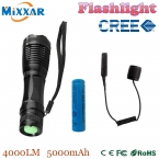 Zk50 4000Lm нью-cree XM-L T6 из светодиодов тактический фонарь факел регулируемый lanterna для охоты   18650 5000 мАч батарея   пульт дистанционного переключатель