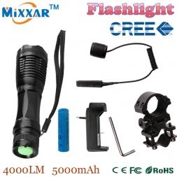 Zk50 CREE XM-L T6 светодиодный фонарик 4000Lm масштабируемые тактический фонарь для Охоты   1*18650 батарея   Дистанционный Переключатель   зарядное устройство   Артиллерийская установка