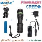 Zk35 CREE XM-L 3800 LM Масштабируемые Q5 фонарик Факел увеличить Свет Лампы Черный светодиод велосипед света с батареей и зарядное устройство