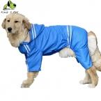 Большая Собака All Seasons Прохладно Полоса Водонепроницаемый Плащ Одежда Для Животных Собака ПУ Материал Красный Зеленый Желтый Синий Плащи Размер 3XL-7XL