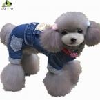 Новых Жан Pet Cat Собак Животных Печатные Костюм Теплая Зима собаки Одежды Пальто Ковбой Жан Куртки Четыре Ноги Одежда Для Собак