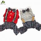 новый  горячая осень весна собака одежда четыре ноги решетки ремни собак балахон размер S-XXL для чихуахуа тедди