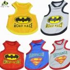 Лето собака супермен бэтмен жилет футболки одежда щенок кот хлопок гонка жилеты футболка для маленьких собак костюмы