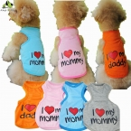 Лето любви папа мама маленькая собака жилет рубашки одежды  новый щенок кот хлопок жилеты футболки пальто одежда для собак костюмы