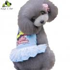 Лето Хлопок С Шелком Собака Платья Юбки Собак Сладкий Лед крем Платья Одежда Для Маленьких Собак Размер XS-XL Синий Розовый Цвет