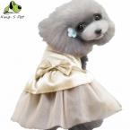 Весна Лето Шелк Хлопок Собака Кошка Лук Платье Кружевные Юбки Pet Puppy Одежда Для Собак Костюм Красный Синий Золотой Размер XS-XL Верхней качество