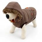 Супер теплый собака зимняя одежда пальто с капюшоном со съемной меховой шапке большой собаки толстовки куртки S / M / L для животных продукты