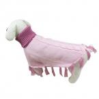 Прекрасный розовый свитер собаки с высоким воротником кисти шали щенок Cat теплый зимняя одежда S / M / L товары для животных новинка