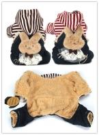 Одежда для собак зима теплая загущающие одежда для домашних животных щенок кошка полоса стереоскопические кролик куртка прочный зимнее пальто одежды