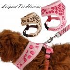 Домашних собак регулируемая воротник и приводит кошка леопард жгут милый контроль безопасности размер S / M для малого-среднего домашних собак розовый бежевый