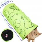 Пэт туннель печатных зеленый прекрасный извивающихся котенок туннель игрушка с мячом играть забавная игрушка туннеля основная кошка игрушки-кролика играть туннель