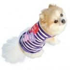 Новых Прибыть Мода Лето Симпатичные фиолетовый Цвет плед Собака Pet Жилет Щенок Письма Печатаются Хлопка Майка Размер XS-L 1 шт.