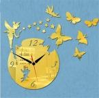Горячая ангел и бабочка акриловые настенные часы 3d гостиная украшения зеркало кристалл кварцевые часы рукоделие часы для семьи