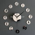 Домашнего декора настенные часы акриловые творческий зеркала фигурой в маленькие круглые настенные часы лучше сделай сам часы для вашего зрительного восприятия