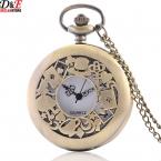 Ретро Классический Алиса в стране чудес Бронза Hollow Кварцевые Карманные Часы 80 см Цепи Ожерелье Кулон Подарок P209