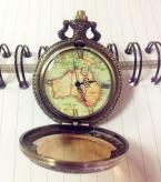 Новая Мода Рождественский Подарок Винтаж Карманные Часы Ретро Античная Цепи AU Карта Ожерелье Карманные Часы Для Специаль Подарок