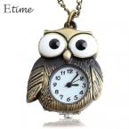 ретро старинные панк стимпанк кварцевые часы карманные часы цепи сова рисунок ожерелье бронзовые бесплатная доставка 58 #