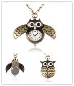 Карманные часы открываются закрываются крылья совы железная цепочка и застежки в виде клешни омара, античная бронза