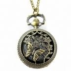 Ретро Бронзовый Бабочка Цветок Карманные Часы Мода Ажурные Обложка Дизайн Звено Цепи Кулон Кварцевые Часы Ожерелье Часы Часы