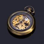 Урожай Ретро Типа Для Mens Механически Скелет Медь Бронза Материал Открытым Лицом Карманные Часы