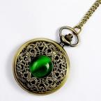 большой урожай изумруд камень карманные часы зеленый ожерелье женские украшения готическая мода ретро прямая поставка эльф глаз