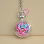 Мода хорошее качество изображения розовый симпатичные моя маленькая лошадь Карманные Часы Ожерелье серебро Женщины Дамы девушка часы antibrittle