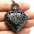 Черное в форме сердца урожай кварцевые карманные часы ожерелья женщин подарок P76