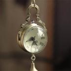 Прочный мода карманные часы сеть ретро старинные бронзовые шарика кварца стекло карманные часы ожерелье цепь стимпанк