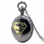 поступление прохладный черный чехол супермен стиль карманные часы синий кварцевые брелок часы с цепи ожерелье подарок