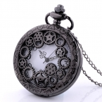 Винтаж черный серебро передач стимпанк кварцевые карманные часы ожерелье мужчины женщины античная кулон рождественский подарок