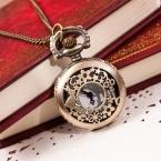 Превосходное качество мода урожай ретро бронзовый кварцевые карманные часы цепи ожерелье женщин часы идеальный подарок 1 шт.