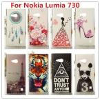 Для Nokia Lumia 730 чехол / люкс кристалл алмаза 3D шику твердый переплет пластиковый чехол для Nokia Lumia 730 735 две sim карты телефон чехол