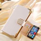 Побрякушки пу кожаный чехол для Nokia Lumia 535 флип кошелек горный хрусталь алмаз   тпу силиконовые телефон для Microsoft Lumia 535