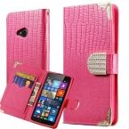 Шику алмаз бумажник флип чехол для Microsoft Nokia Lumia 535 люкс ящерица зерна пу кожаный чехол для Lumia535 телефон коке черный