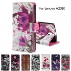 Для Lenovo 2010 ПУ Кожаный Мешок Карты Слоты Горизонтальное Флип обложка для Lenovo A2010 с Подставкой Случаях, Кошелек Случае Нежные Цветы