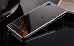Зеркало Задняя Крышка Крышка Телефон Случаях Металлический Каркас для Sony Xperia Z Z1 Z2 Z3 Z4 Z5 Компактный Премиум Aqua M4 M5