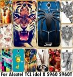 Цветок Дело Животных Обложка Чехол Для Alcatel One Touch Idol х   6043d Tcl X   S960 S960t Дело Крышка Телефона Оболочки