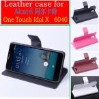 мода новый высокое качество флип кожаный чехол для TCL S950 Alcatel One Touch идола X 6040 6040A 6040D   бесплатная доставка