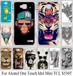 Красочные Животных Случаи Обложка Для Alcatel One Touch Idol Mini Tcl S530t 6012d 6012a 6012x6012 Вт Телефон Дело Shell Обложка Тигр Кошка