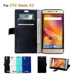 Бумажник Стиль Обложка для ZTE Blade Х 3 Случаях Из Кожи Крокодила Кожи Стойки Телефон Случае для ZTE Blade X3