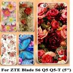 Живопись Телефон Случаях для ZTE Blade S6 Q5 5 дюймовый Телефон Дело Shell обложка Для ZTE Blade S6 Роуз Дело Цветы Пиона Фон крышка
